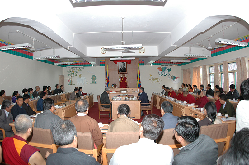 His Holiness the Dalai Lama addressing the members of the 13th Tibetan Parliament-in-Exile, 2004