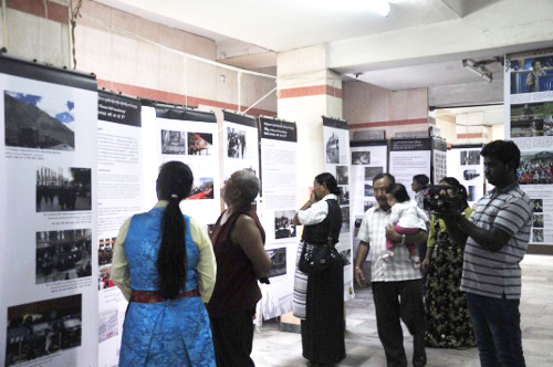 Visitors at the Tibet Museum exhibition at Coimbatore.