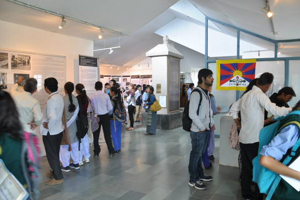 Visitors during the celebration of international museum day at Tibet Museum in Dharamshala, India, on 18 May 2014
