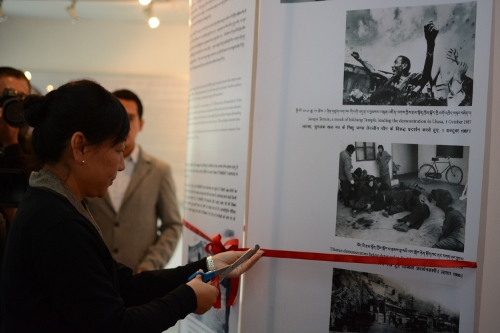 Kalon Dicki Chhoyang inaugurating Tibet Museum's new exhibition on Tibetan Self-immolations Kalon Dicki Chhoyang inaugurating Tibet Museum's new exhibition on Tibetan Self-immolations. DIIR Photo/ Tenzin Phende