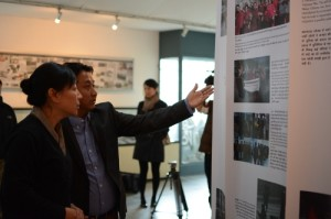 Tibet Museum's Director Tashi Phuntsok explaining the exhibits to Kalon DIcki Chhoyang.