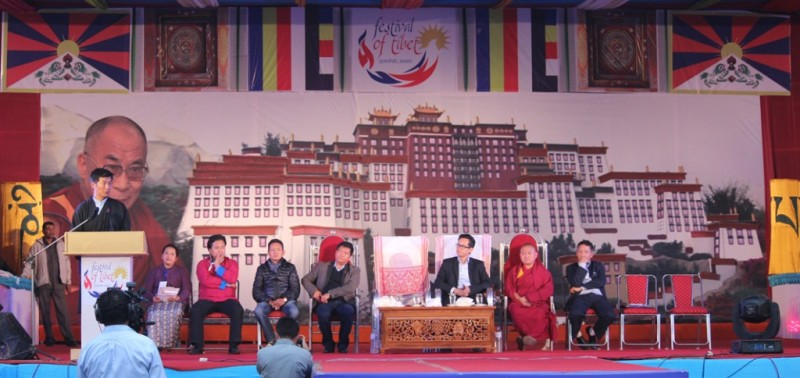 Sikyong Dr Lobsang Sangay speaking at the conclusion of Tibet Festival in Guwahati. Photo/ Tempa Gyaltse