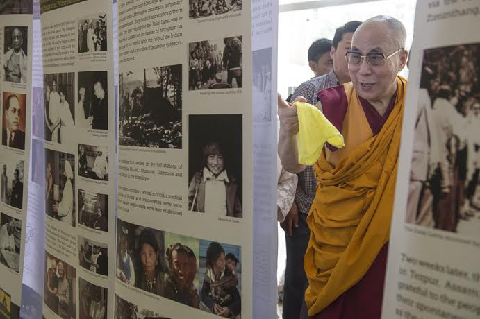 His Holiness the Dalai Lama after inaugurating the photo exhibition organised by the Tibet Museum of the Central Tibetan Administration in Mumbai, India, on 1 June 2014