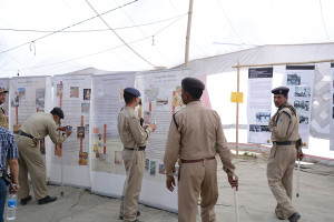 Ladakh local Police viewing Tibet Museum photo exhibition