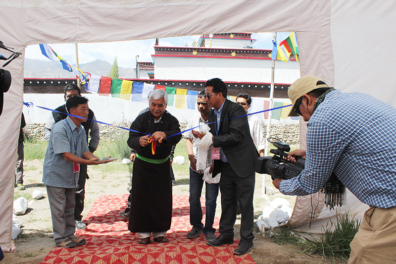 Mr. Thupstan Chhewang, Member of Parliament, Ladakh, inaugurating the exhibition on 5 July 2014.