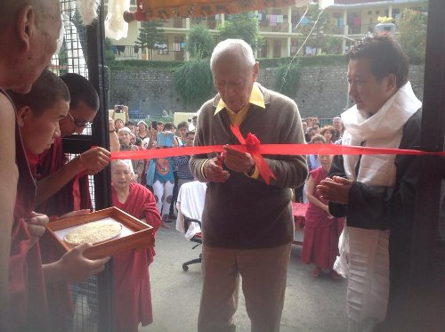 Dhakpo Rinpoche inaugurating the exhibition of Tibet Museum at Shedrupling monastery in Kullu, Himachal Pradesh.