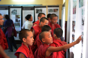 Young monks at the exhibition.