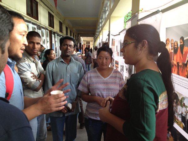 Tibetan students interacting with other students about the situation inside Tibet