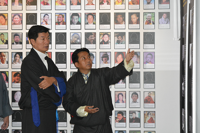 Mr. Tashi Phuntsok, Director of Tibet Museum, explaining the new designs of the exhibition to Sikyong Dr. Lobsang Sangay