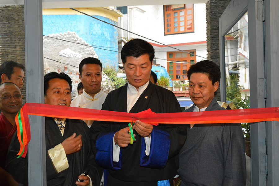 Sikyong Dr. Lobsang Sangay accompanied by DIIR Secretary Tashi Phuntsok and Director of Tibet Museum, cutting the ribbon to inaugurate the new re-designed Tibet Museum