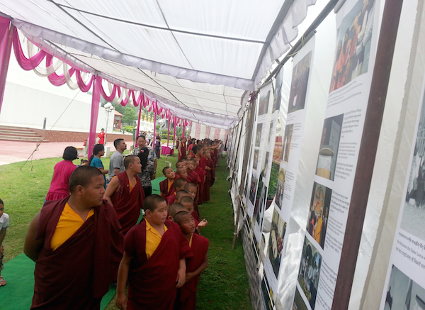 Monks from the monastery at the exhibition