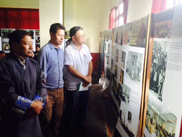 The Tibet Museum staff Tsering Wangdu with the chief guest and ITCO Coordinator Jigme Tsuiltrim at the Tibet Museum exhibtion in Gangtok