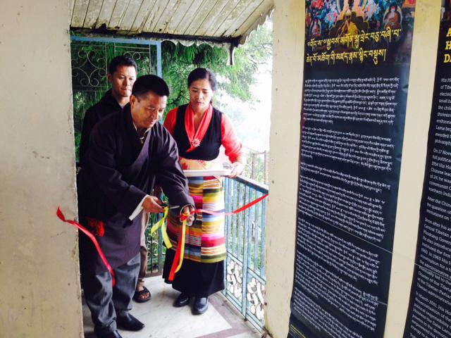 Tibetan welfare officer Mr. Rinzin Dorjee inaugurating the exhibition