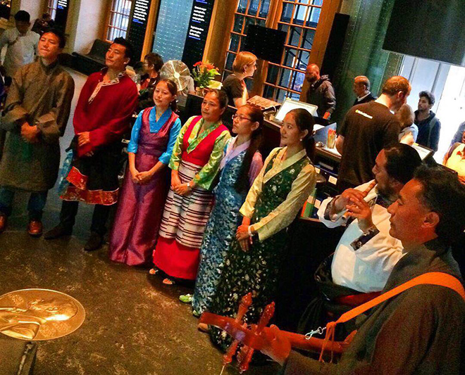 Tibetan Community in Sweden performing Tibetan anthems at the Nobel Museum to honor His Holiness the Dalai Lama on his 8oth Birthday