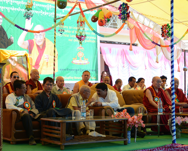 The dignitaries at the celebration to honour His Holiness the Dalai Lama's 80th birthday at Dagpo Shedurpling monastery.