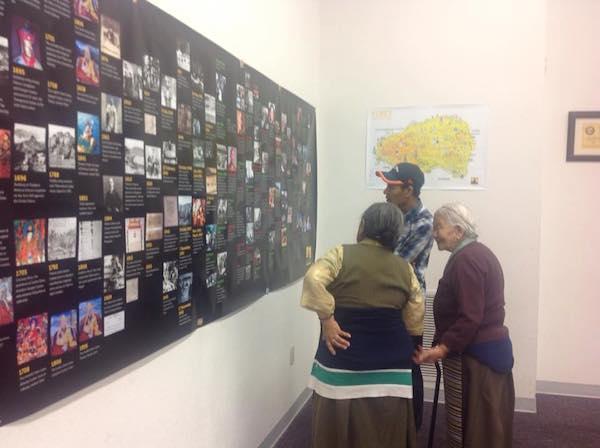 Visitors at the Tibet Museum's exhibit.