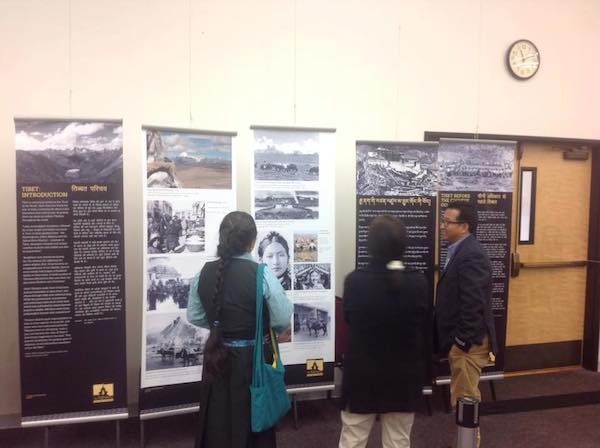 Visitors interacting with Mr. Tashi Phuntsok, Director of Tibet Museum.