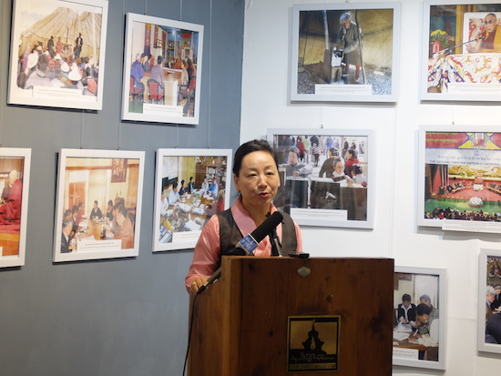 DIIR Kalon Dicki Chhoyang addressing the media at the inaugural session of Tibet Museum's exhibition, 14 October 2015.