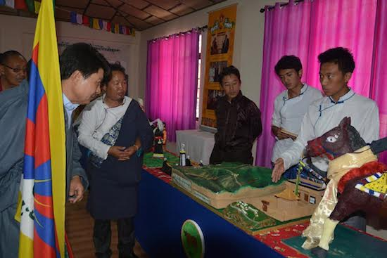 Students presenting their models to the chief guest Mr. Tashi Phuntsok, at TCV Suja on 5 September 2015.