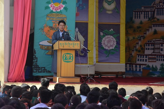 DIIR Secretary Mr. Tashi Phuntsok speaking to the students and staff of TCV Suja on the 'Tibet Our Country Project Day' on 5 September 2015.