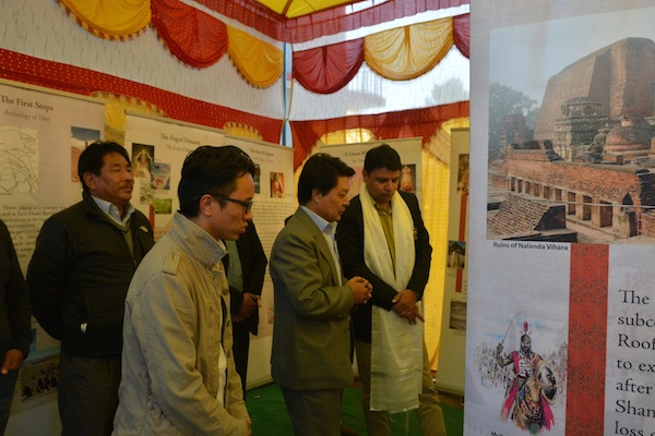 Secretary Tashi Phuntsok with the chief guest at the exhibition.