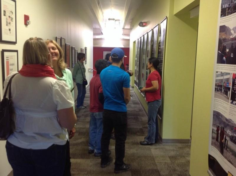 Visitors at the exhibition at Naropa University, Boulder, Colorado.