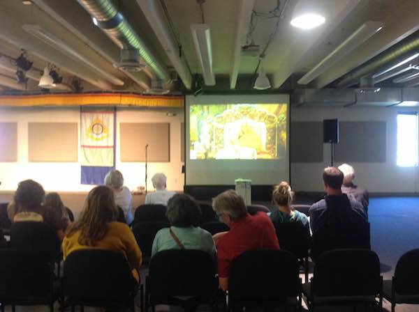 A documentary film on Tibet being screened at the exhibition.