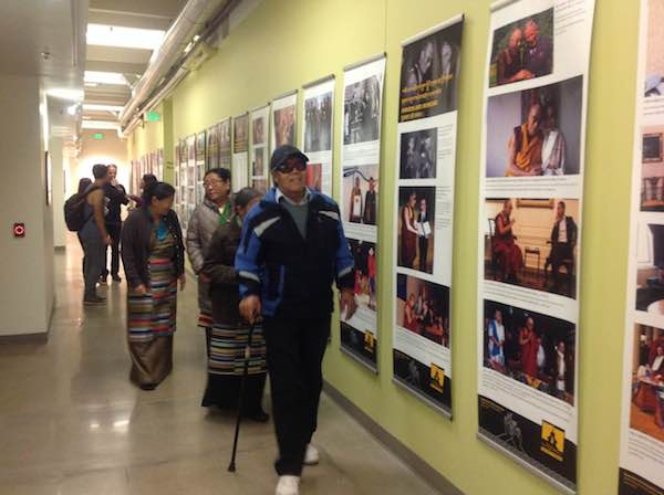 Tibetans visit the exhibition at Naropa University, Colorado.