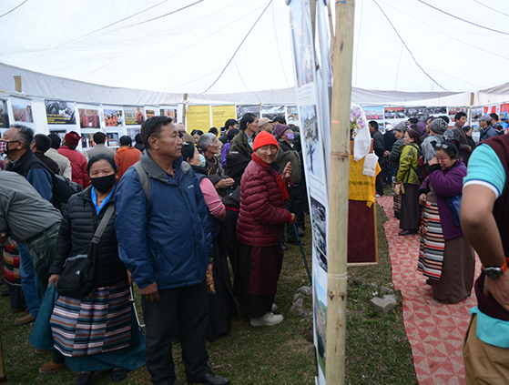 Visitors at the Tibet Museum's photo exhibition at Tso Pema, Rewalsar