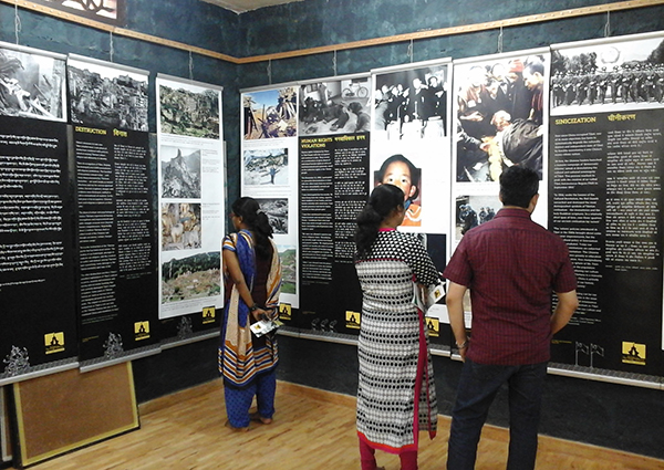 Visitors at The Tibet Museum's Exhibition at Alapuzzha, Kerala