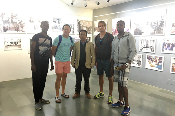 Mr. Tashi Phuntsok with some of the Zimbabwean cricket team member at the Tibet Museum