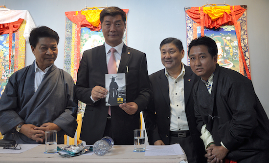 From left: DIIR Secretary Mr Tashi Phuntsok, Sikyong Dr Lobsang Sangay, DIIR Secretary Mr Sonam Norbu Dagpo and Director of Tibet Museum Mr Tashi Phuntsok at the release of Tibet Museum's new exhibition catalog, 18 May 2016.