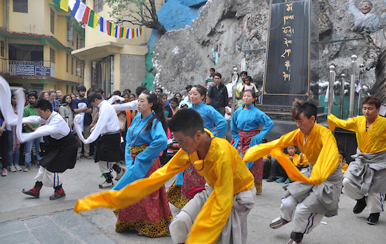Students of Sherab Gatsel Lobling performing a traditional Tibetan dance, 20 May 2016