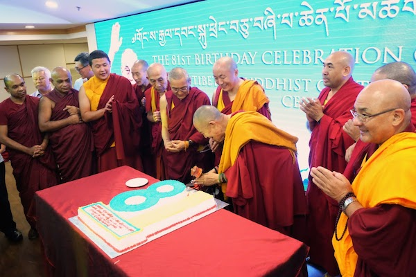 His Eminence Garchen Rinpoche and Geshe Lobsang Dakpa from Namgyal Monastery along with other Tibetan senior Lamas joins the cake cutting ceremony to celebrate His Holiness the Dalai Lama's 81st birth anniversary, 6 July 2016.