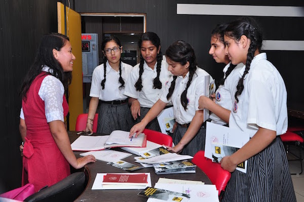 Students of Partap World School at the Tibet Museum's exhibition, Pathankot.