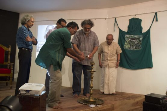 Mr Tushar Gandhi inaugurating the three-day exhibition.