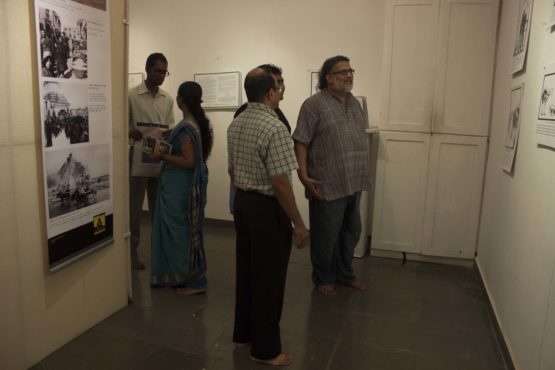 Mr Tushar Gandhi at the exhibition.