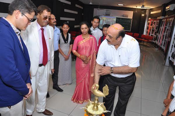 Dr Dinesh Sharma Ji, the principal of AB College, Pathankot at the last day exhibition, Pathankot.