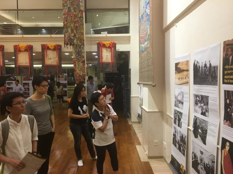 Visitors at exhibition at Amitabha Buddhist Center, Singapore.