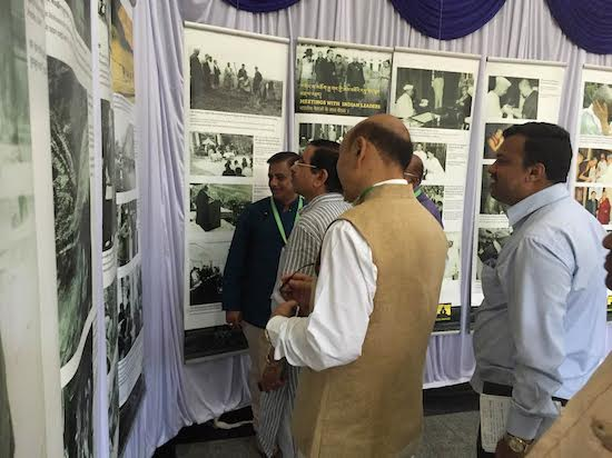 (L-R) Shri Amrut Joshi-National Co-convener, Shri Prahlad Joshi-Member of Parliament, Lok Sabha, Dharwad, Shri R.K.Khrimey-National Convener, Core Group for Tibetan Cause enjoying the photo exhibition of Tibet museum at the venue hall, July 23, 2016