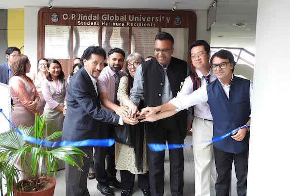 Chief guest Dr C Raj Kumar, Vice Chancellor, O P Jindal Global University inaugurating the photo exhibition, along with Deputy Director of Tibet Policy Institute Mr Sonam Tenzin and Deans of Jindal School of International Affairs, Jindal School of Liberal Arts and Humanities at the O P Jindal Global University on 29 August, 2016. Photo credit: Buchung Dhargyal, TPI