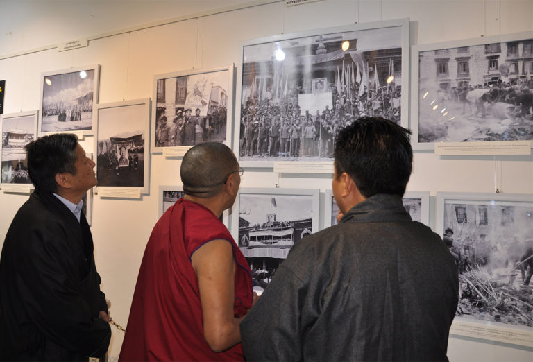 Kalon Karma Gelek Yuthok, Department of Religion and Culture and Mr Sonam Norbu Dagpo, Secretary, DIIR  watching the exhibition at Tibet Museum on 28 October 2016. Photo/Tenzin Phende/DIIR