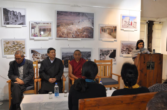 Ms Tenzin Dhardon Sharling, Information Secretary of DIIR delivering speech at inauguration of photo-framed exhibition cum panel discussion titled 'Revisiting the Cultural Revolution in Tibet' at the Tibet Museum on 28 October 2016. Photo/Tenzin Phende/DIIR