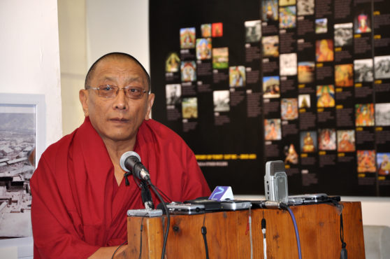 Kalon Karma Gelek Yuthok delivering speech during inauguration of photo-framed exhibition cum panel discussion titled 'Revisiting the Cultural Revolution in Tibet' at the Tibet Museum on 28 October 2016. Photo/Tenzin Phende/DIIR