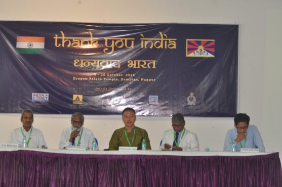TPI researcher Mr Tempa Gyaltsen with Indian scholars speaking on Tibet's environment and other pressing issues.