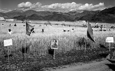 Portrait of Mao Zedong and Chinese communist propaganda placards and banners around the agricultural lands of a village in Tibet. Mao's portrait and communist flags adorning villages were a common sight during the Cultural Revolution.
