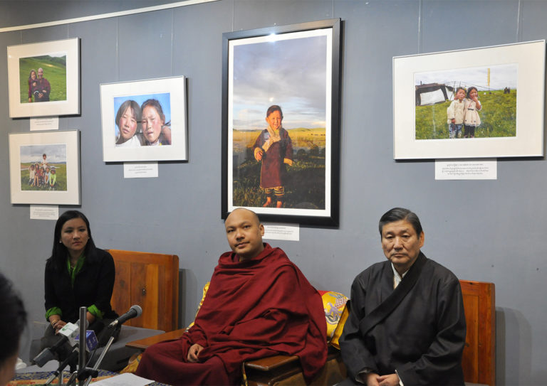 Gyalwang Karmapa Rinpoche accompanied by DIIR secretaries Mr Sonam Norbu Dagpo and Ms Tenzin Dhardon Sharling at the inauguration of Grassland, a photo exhibiton by photographer Kunchok Gyaltsen at Tibet Museum.