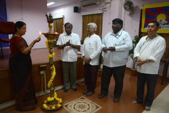 Ms Asha Reddy, a long time supporter of Tibet, lighting a ceremonial lamp along with other guests, at the inauguration of the fourth Thank You India Program held in Chennai.