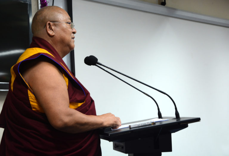 Geshe Nyima Tashi from Sera Jey speaking about the historical relation between Nalanda University and Tibetan Buddhism, 25 March 2017.