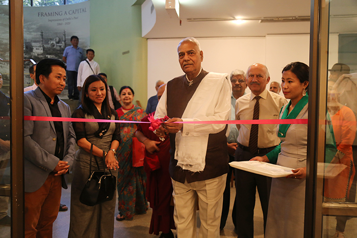 Former Indian Foreign and Finance Minister Shri Yashwant Sinha Inaugurates the Photo Exhibition on 'Revisiting Cultural Revolution in Tibet.' Photo @ Namgyal Tsewang, DIIR